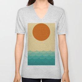Sun and waves Unisex V-Neck