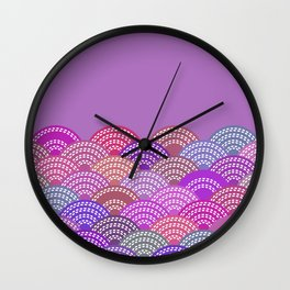 seigaiha wave lilac purple pink colors abstract scales Wall Clock