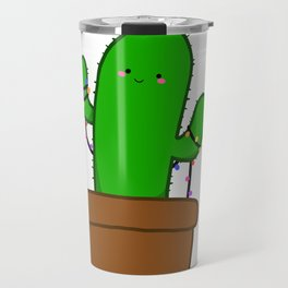 Christmas Cactus Illustration in a Pot with Christmas String Lights Travel Mug