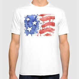 American Flag Watercolor Abstract Stars and Stripes T-shirt