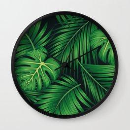 Tropical leaf illustration Wall Clock