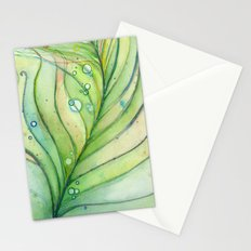 Green Watercolor Peacock Feather and Bubbles Stationery Cards