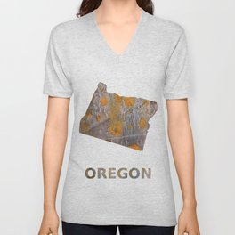 Oregon map outline Yellow brown spots watercolor Unisex V-Neck