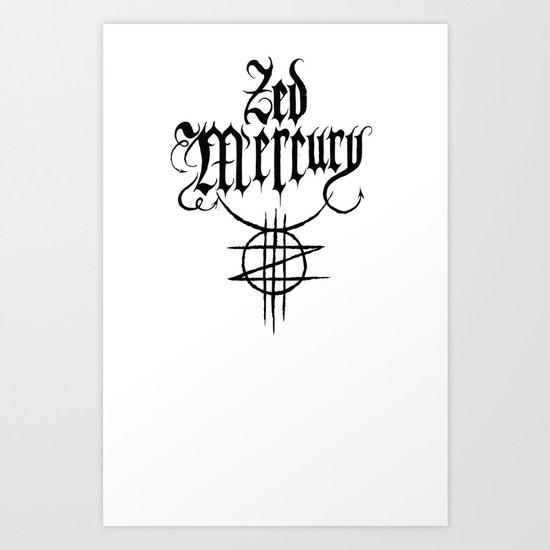 ZED MERCURY: PSYCHOPOMP LOGO - White Art Print