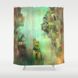 Village on the rocks Shower Curtain