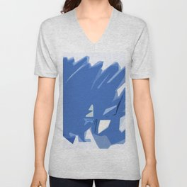 Abstract In Blue Unisex V-Neck