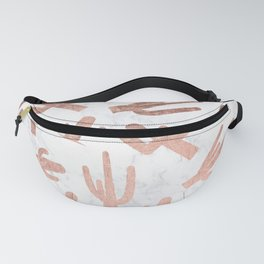 Modern rose gold cactus cacti pattern on white marble Fanny Pack