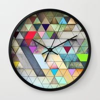 triangles Wall Clocks featuring Triangles  by Jason Michael