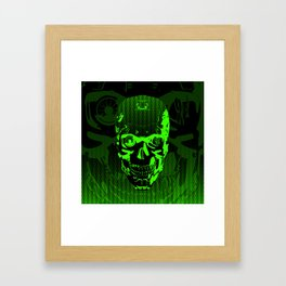Gamer Skull CARTOON GREEN / 3D render of cyborg head Framed Art Print
