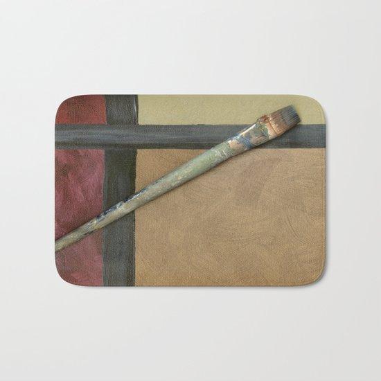 Artist Brush On Abstract Copper Canvas Artwork - Vintage - Modern Art - Painter Bath Mat