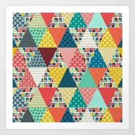 llama geo triangles Art Print