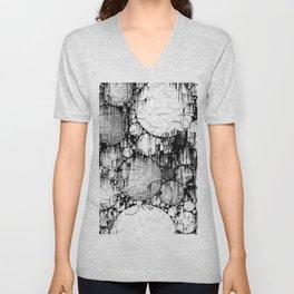 Glitch Black & White Circle abstract Unisex V-Neck