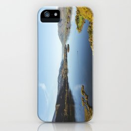 View over Derwent Water to Keswick, Skiddaw and Bassenthwaite Lake. Lake District, UK. iPhone Case