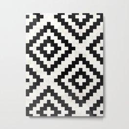 Urban Tribal Pattern No.18 - Aztec - Black and White Concrete Metal Print
