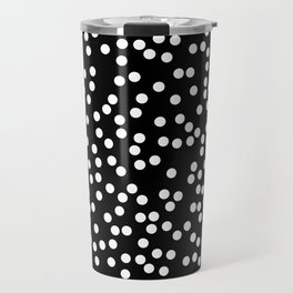 Black and White Polka Dot Pattern Travel Mug