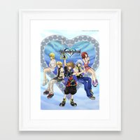 kingdom hearts Framed Art Prints featuring Kingdom Hearts by clayscence
