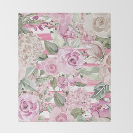 Country chic watercolor pastel green pink geometric floral Throw Blanket