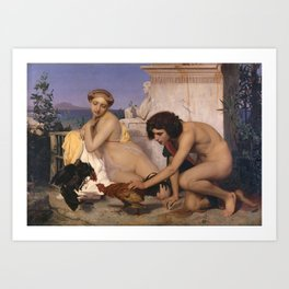 Young Greeks Attending a Cock Fight by Jean-Leon Gerome Art Print