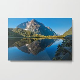 Mountain View Reflections in Water at Milford Sound Metal Print