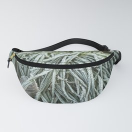 Grass covered with morning frost Fanny Pack