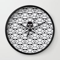 chad wys Wall Clocks featuring The Dark One by Davies Babies