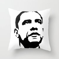 obama Throw Pillows featuring barak obama by b & c