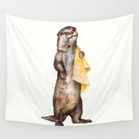 otter Wall Tapestries featuring otter by Laura Graves
