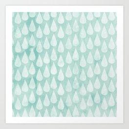 Big Drops Blush Blue Art Print