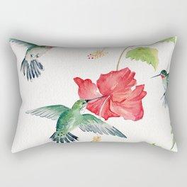 Hummingbirds and Hibiscus  Rectangular Pillow