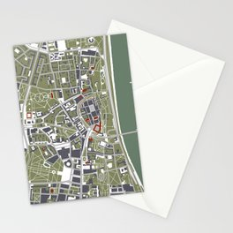 Warsaw city map engraving Stationery Cards