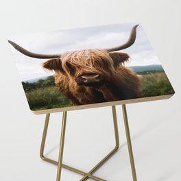 Scottish Highland Cattle in Scotland Portrait II Side Table