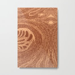 Mud Wave 1 - Abstract Lines - Terracotta Abstract - Modern, Contemporary Print - Brown, Burnt Orange Metal Print