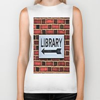 library Biker Tanks featuring Library by Biff Rendar