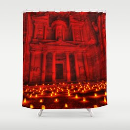 Nabatean Kingdom Petra 'Treasury' Ruins Rose City by Night Candle Ceremony Shower Curtain