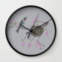 hummingbird Wall Clocks featuring Hummingbird by Nancy Smith