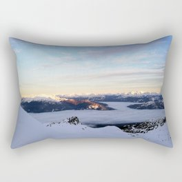 Morning light sweeping mountain peaks above sea of clouds Rectangular Pillow