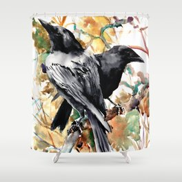 Ravens in the Fall, raven wall art Shower Curtain