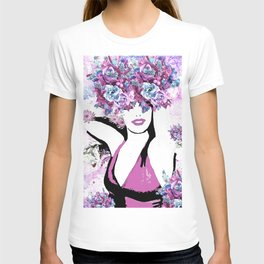 BEAUTIFUL GIRL WITH FLOWERS T-shirt