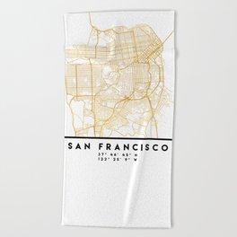 SAN FRANCISCO CALIFORNIA CITY STREET MAP ART Beach Towel