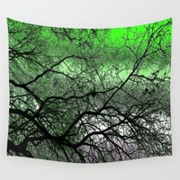 lime green Wall Tapestries featuring Twisted but Strong (lime green) by NatalieCatLee