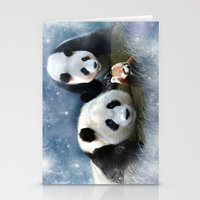 pandas Stationery Cards featuring Pandas by Julie Hoddinott