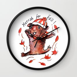 Fall Guinea Pig Wall Clock