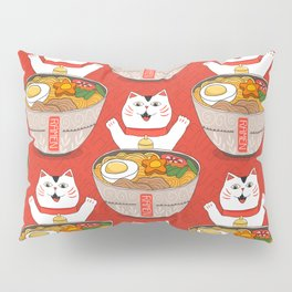 Liter of Ramen. Japanese soup and Manekineko cat. Pillow Sham