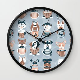 Doggie Coffee and Tea Time I // blue grey Wall Clock