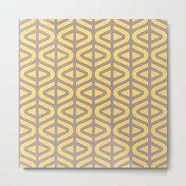 Mid Century Modern Split Triangle Pattern Gray and Yellow 2 Metal Print