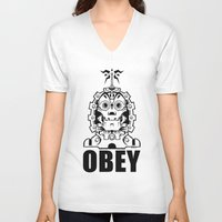 obey V-neck T-shirts featuring OBEY by Steve Zieser