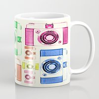 camera Mugs featuring CAMERA by Laura Maria Designs