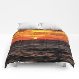Sunset Over The Mediterranean Sea Comforters