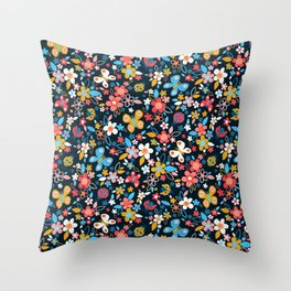 Ditsy Bugs and Butterflies Floral on Black Throw Pillow