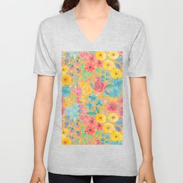 Floral watercolor pattern in yellow Unisex V-Neck